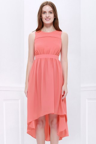 Online High Low Hem Chiffon Bridesmaid Dress ORANGEPINK M