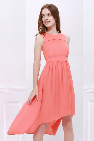 Latest High Low Hem Chiffon Bridesmaid Dress - M ORANGEPINK Mobile