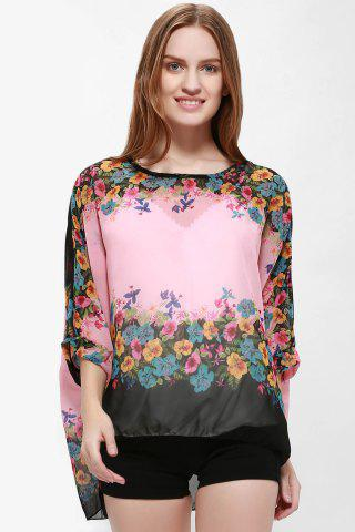Outfits Bohemia Style Scoop Neck Loose-Fitting Bat-Wing Floral Print Women's Blouse PINK L
