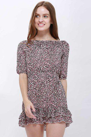 Buy Sexy Slash Collar 3/4 Sleeve Leopard Print Mini Women's Dress