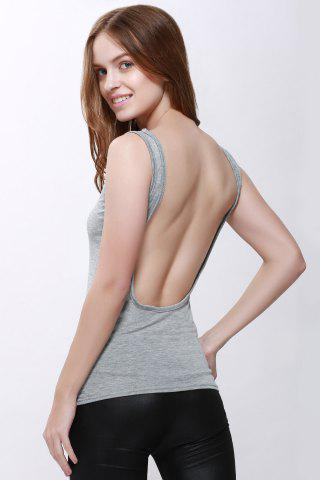 New Sexy Scoop Neck Solid Color Backless Tank Top For Women GRAY S