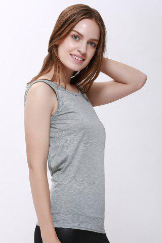 Trendy Sexy Scoop Neck Solid Color Backless Tank Top For Women - M GRAY Mobile