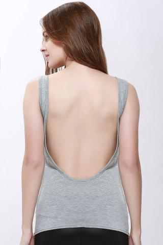 Shop Sexy Scoop Neck Solid Color Backless Tank Top For Women - M GRAY Mobile