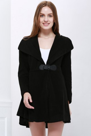 Cheap Solid Color Noble Style Worsted Turn-Down Collar Long Sleeves Women's Coat BLACK M