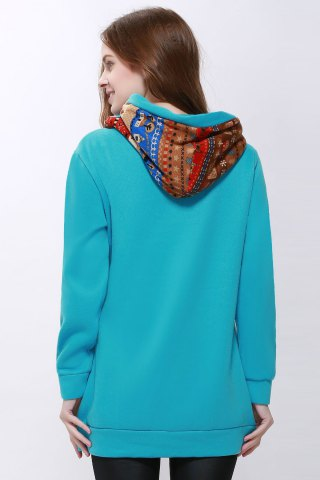 Fashion Korean Thicken Solid Color Thicken Hooded Long Sleeves Women's Hoody - M BLUE Mobile