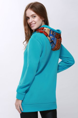 Unique Korean Thicken Solid Color Thicken Hooded Long Sleeves Women's Hoody - M BLUE Mobile