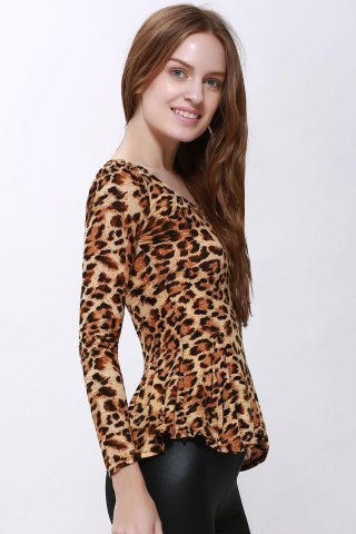 Fancy Sophisticated Style Long Sleeves Scoop Neck High Elasticity Cotton Women's T-Shirt - ONE SIZE LEOPARD Mobile
