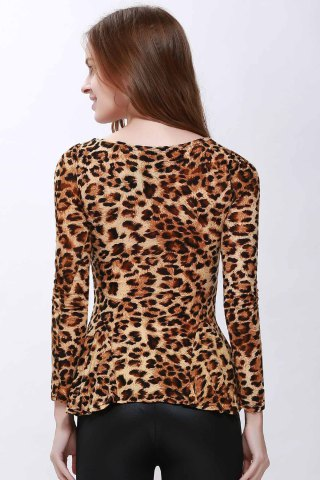 Store Sophisticated Style Long Sleeves Scoop Neck High Elasticity Cotton Women's T-Shirt - ONE SIZE LEOPARD Mobile
