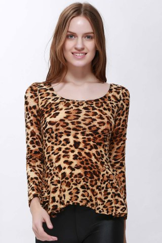 Outfits Sophisticated Style Long Sleeves Scoop Neck High Elasticity Cotton Women's T-Shirt - ONE SIZE LEOPARD Mobile
