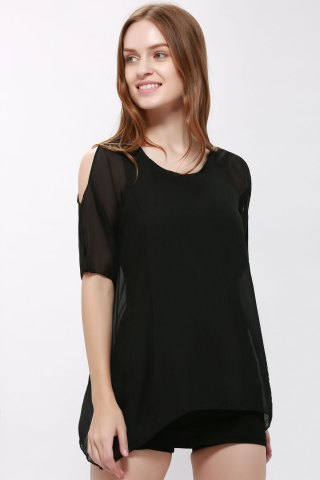 Short Plain Cold Shoulder Chiffon Dress