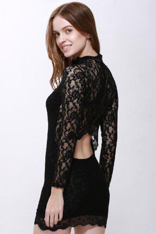 Buy Lace Back Cut Out Mini Night Club Bodycon Dress BLACK M