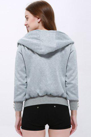Buy Fashionable Solid Color Long Sleeve Hoodie For Women - XL LIGHT GRAY Mobile