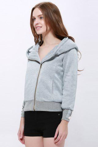 New Fashionable Solid Color Long Sleeve Hoodie For Women - XL LIGHT GRAY Mobile