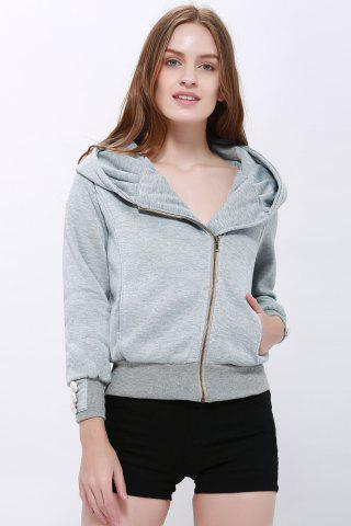 Shops Fashionable Solid Color Long Sleeve Hoodie For Women - XL LIGHT GRAY Mobile