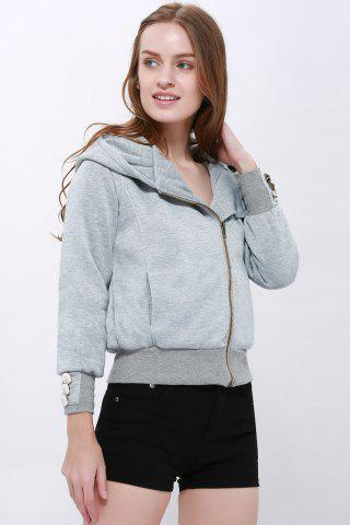 Outfits Fashionable Solid Color Long Sleeve Hoodie For Women - XL LIGHT GRAY Mobile