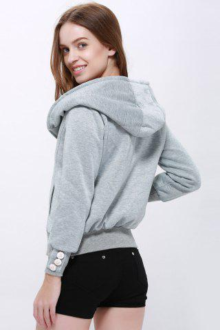 Store Fashionable Solid Color Long Sleeve Hoodie For Women - XL LIGHT GRAY Mobile