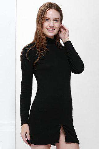 Unique Roll Neck Slit Front Design Pullover Jumper Dress BLACK S