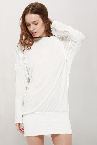 Cheap Long Zipper Embellished Long Sleeve T-Shirt - ONE SIZE WHITE Mobile