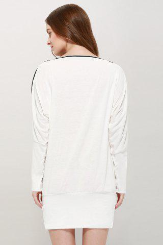 Trendy Long Zipper Embellished Long Sleeve T-Shirt - ONE SIZE WHITE Mobile