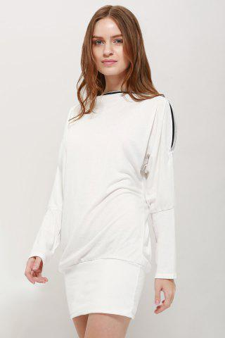 Best Charming Boat Neck Solid Color Zipper Embellished Long Sleeve Cotton Blend Women's T-Shirt WHITE ONE SIZE