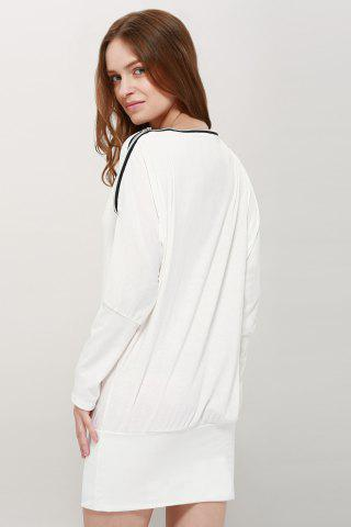 Chic Long Zipper Embellished Long Sleeve T-Shirt - ONE SIZE WHITE Mobile