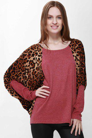 Casual Scoop Neck Color Splicing Leopard Print Long Sleeves Loose-Fitting Women's Sweater - Red - One Size