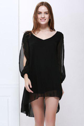 Slit Sleeve V Neck Chiffon High Low Dress - Black - Xl