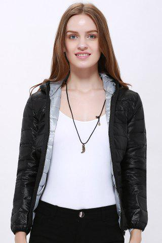 Outfit Stylish Hooded Long Sleeve Zippered Pocket Design Women's Down Jacket - M BLACK Mobile