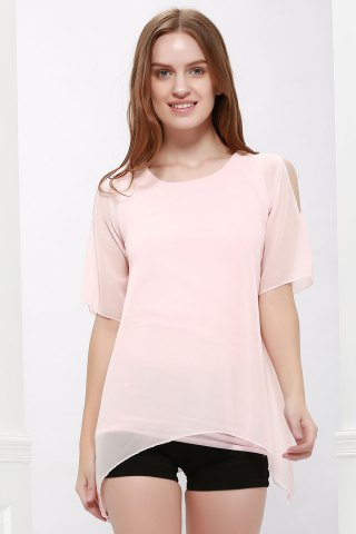 Shops Fairy Style Flowing Texture Chiffon Women's Blouse PINK ONE SIZE