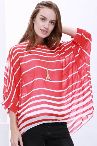 Unique Casual Scoop Neck Striped Batwing Sleeve Women's Blouse RED XL