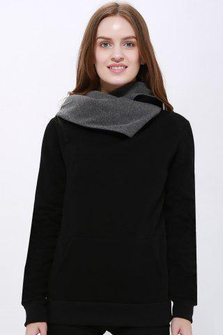 Trendy Casual Style Loose-Fitting Solid Color Long Sleeve Women's Hoodie BLACK M