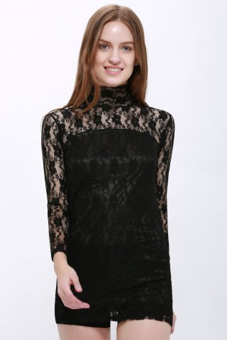 Trendy High Neck Puff Sleeve Lace Dress BLACK ONE SIZE