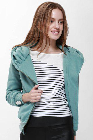 Best Fashionable Solid Color Long Sleeve Hoodie For Women PEA GREEN S