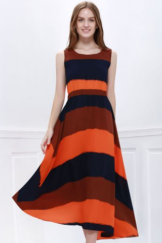 Fancy Western Style Color Block Broad Stripe Print Elastic Waist Women's Chiffon Ankle-Length Dress AS THE PICTURE ONE SIZE