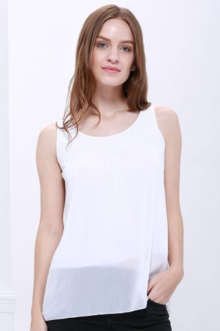 New Popular Plus Size Sleeveless Chiffon Women's Summer Blouse WHITE M