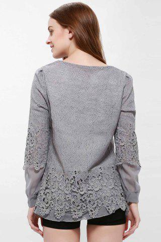 Fancy Lace Panel Long Sleeve Casual Top - L GRAY Mobile