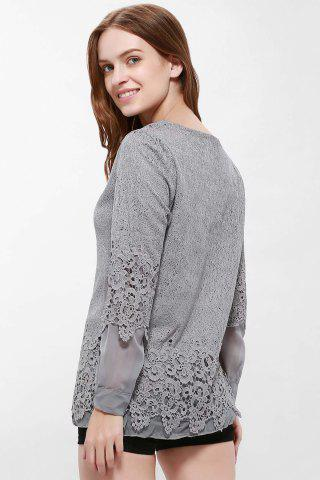 Sale Lace Panel Long Sleeve Casual Top - L GRAY Mobile