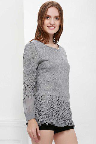 Fashion Lace Panel Long Sleeve Casual Top - L GRAY Mobile