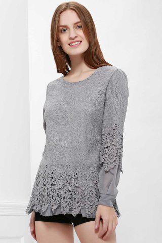 Sale Lace Panel Long Sleeve Casual Top - M GRAY Mobile