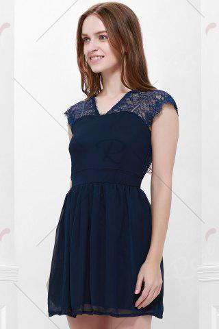 Hot Lace Panel Back Cutout Mini Skater Club Dress - L BLUE Mobile