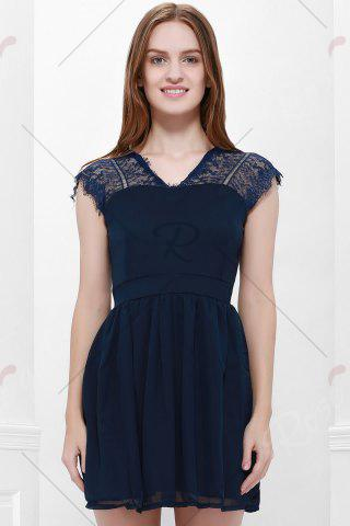 Shop Lace Panel Back Cutout Mini Skater Club Dress - L BLUE Mobile