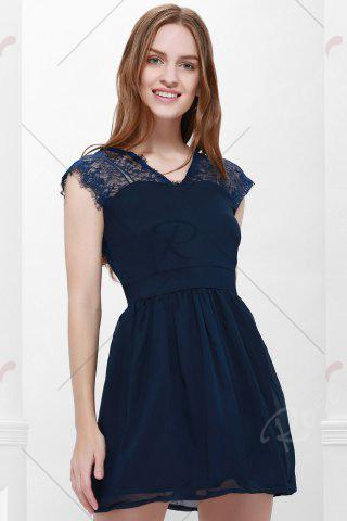 Store Lace Panel Back Cutout Mini Skater Club Dress - L BLUE Mobile