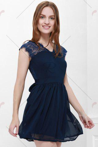 Fashion Lace Panel Back Cutout Mini Skater Club Dress - L BLUE Mobile