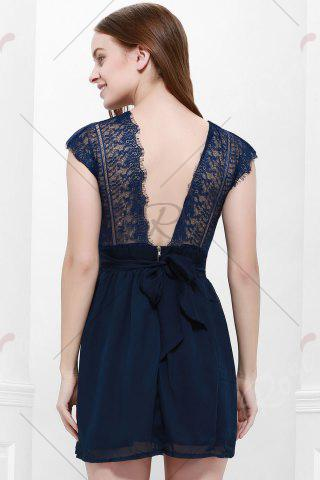 Discount Lace Panel Back Cutout Mini Skater Club Dress - L BLUE Mobile