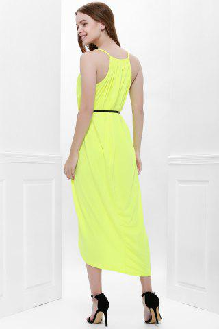 Online Sexy Spaghetti Strap Sleeveless Solid Color Furcal Women's Dress - M YELLOW Mobile