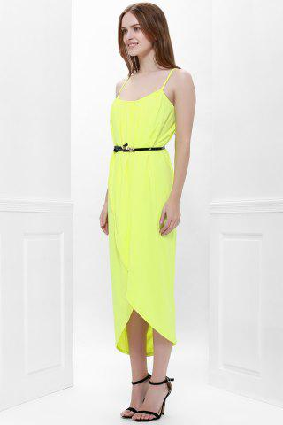 Sale Sexy Spaghetti Strap Sleeveless Solid Color Furcal Women's Dress - M YELLOW Mobile