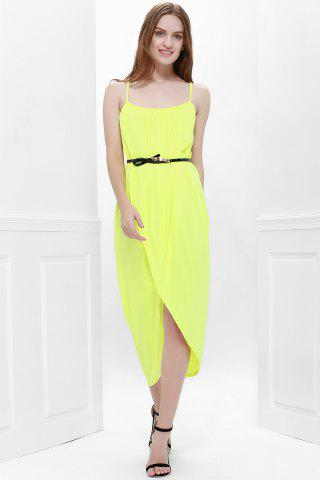 Hot Sexy Spaghetti Strap Sleeveless Solid Color Furcal Women's Dress - M YELLOW Mobile