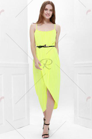 Shop Sexy Spaghetti Strap Sleeveless Solid Color Furcal Women's Dress - L YELLOW Mobile