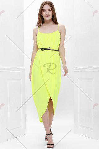 Trendy Sexy Spaghetti Strap Sleeveless Solid Color Furcal Women's Dress - L YELLOW Mobile