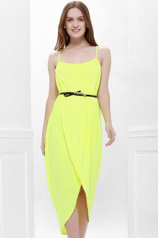 Chic Sexy Spaghetti Strap Sleeveless Solid Color Furcal Women's Dress - L YELLOW Mobile